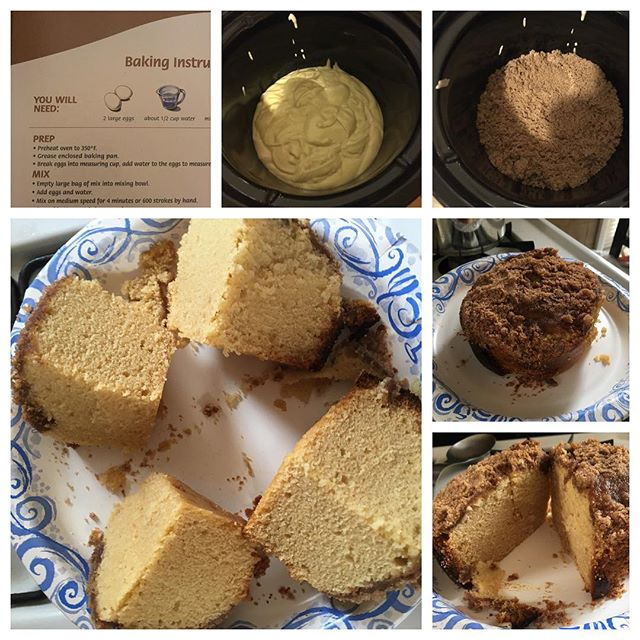 Hey @manischewitzco I made a box of leftover Passover crumb cake in the crock pot (at the urging of my friends) - look how fluffy it came out! 4hours on low, the cake will be however high it is when you pour it into the crockpot! #Passover #Crockpot #manischewitz #coffeecake